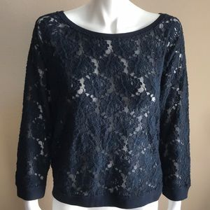 Abercrombie & Fitch Navy lace scoop neck sweater